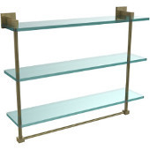 Montero Collection 22 Inch Triple Tiered Glass Shelf with integrated towel bar, Antique Brass