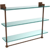 Montero Collection 22 Inch Triple Tiered Glass Shelf with integrated towel bar, Antique Bronze