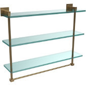Montero Collection 22 Inch Triple Tiered Glass Shelf with integrated towel bar, Brushed Bronze
