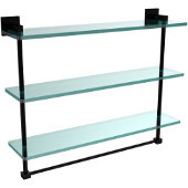Montero Collection 22 Inch Triple Tiered Glass Shelf with integrated towel bar, Matte Black