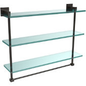 Montero Collection 22 Inch Triple Tiered Glass Shelf with integrated towel bar, Oil Rubbed Bronze