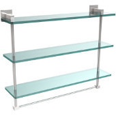 Montero Collection 22 Inch Triple Tiered Glass Shelf with integrated towel bar, Polished Chrome
