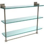 Montero Collection 22 Inch Triple Tiered Glass Shelf with integrated towel bar, Antique Pewter