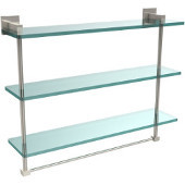 Montero Collection 22 Inch Triple Tiered Glass Shelf with integrated towel bar, Polished Nickel