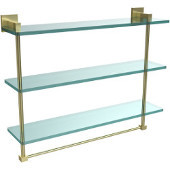 Montero Collection 22 Inch Triple Tiered Glass Shelf with integrated towel bar, Satin Brass