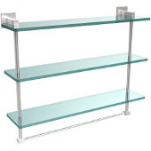 Montero Collection 22 Inch Triple Tiered Glass Shelf with integrated towel bar, Satin Chrome