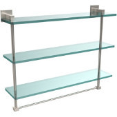 Montero Collection 22 Inch Triple Tiered Glass Shelf with integrated towel bar, Satin Nickel