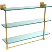 Montero Collection 22 Inch Triple Tiered Glass Shelf with integrated towel bar, Unlacquered Brass