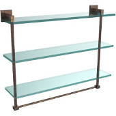 Montero Collection 22 Inch Triple Tiered Glass Shelf with integrated towel bar, Venetian Bronze