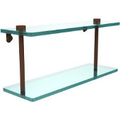 16 Inch Two Tiered Glass Shelf, Antique Bronze