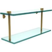 16 Inch Two Tiered Glass Shelf, Polished Brass