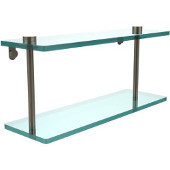 16 Inch Two Tiered Glass Shelf, Antique Pewter