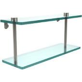 16 Inch Two Tiered Glass Shelf, Polished Nickel
