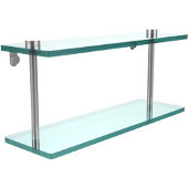 16 Inch Two Tiered Glass Shelf, Satin Chrome