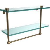 16 Inch Two Tiered Glass Shelf with Integrated Towel Bar, Brushed Bronze