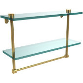 16 Inch Two Tiered Glass Shelf with Integrated Towel Bar, Polished Brass