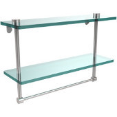 16 Inch Two Tiered Glass Shelf with Integrated Towel Bar, Polished Chrome
