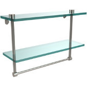 16 Inch Two Tiered Glass Shelf with Integrated Towel Bar, Satin Nickel