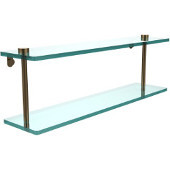 22 Inch Two Tiered Glass Shelf, Brushed Bronze