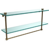 22 Inch Two Tiered Glass Shelf with Integrated Towel Bar, Brushed Bronze