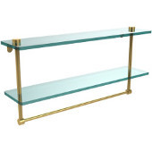 22 Inch Two Tiered Glass Shelf with Integrated Towel Bar, Unlacquered Brass