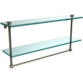 22 Inch Two Tiered Glass Shelf with Integrated Towel Bar, Antique Pewter