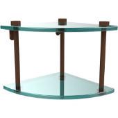 Two Tier Corner Glass Shelf, Antique Bronze