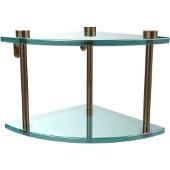 Two Tier Corner Glass Shelf, Brushed Bronze