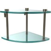Two Tier Corner Glass Shelf, Antique Pewter