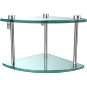Two Tier Corner Glass Shelf, Satin Chrome