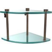 Two Tier Corner Glass Shelf, Venetian Bronze