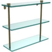 16 Inch Triple Tiered Glass Shelf, Antique Brass