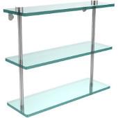 16 Inch Triple Tiered Glass Shelf, Satin Chrome