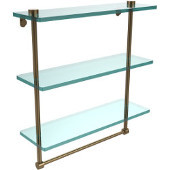16 Inch Triple Tiered Glass Shelf with Integrated Towel Bar, Brushed Bronze