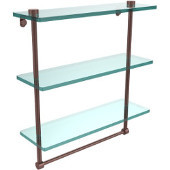 16 Inch Triple Tiered Glass Shelf with Integrated Towel Bar, Antique Copper