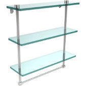 16 Inch Triple Tiered Glass Shelf with Integrated Towel Bar, Polished Chrome