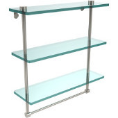 16 Inch Triple Tiered Glass Shelf with Integrated Towel Bar, Polished Nickel