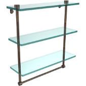 16 Inch Triple Tiered Glass Shelf with Integrated Towel Bar, Venetian Bronze