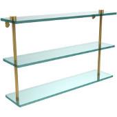 22 Inch Triple Tiered Glass Shelf, Polished Brass