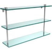 22 Inch Triple Tiered Glass Shelf, Polished Chrome