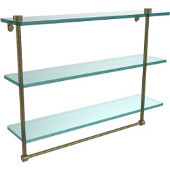 22 Inch Triple Tiered Glass Shelf with Integrated Towel Bar, Antique Brass
