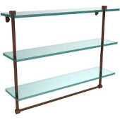 22 Inch Triple Tiered Glass Shelf with Integrated Towel Bar, Antique Bronze