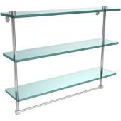 22 Inch Triple Tiered Glass Shelf with Integrated Towel Bar, Polished Chrome