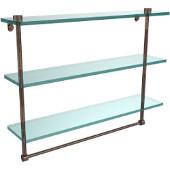 22 Inch Triple Tiered Glass Shelf with Integrated Towel Bar, Venetian Bronze