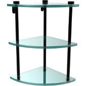 Three Tier Corner Glass Shelf, Matte Black