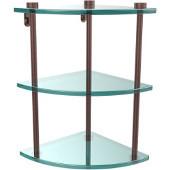 Three Tier Corner Glass Shelf, Antique Copper