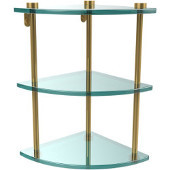 Three Tier Corner Glass Shelf, Unlacquered Brass