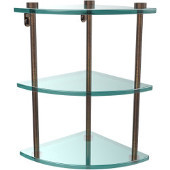 Three Tier Corner Glass Shelf, Venetian Bronze