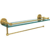 Prestige Skyline Collection Paper Towel Holder with 22 Inch Gallery Glass Shelf, Unlacquered Brass