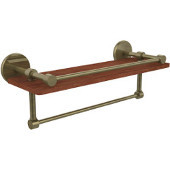 Prestige Skyline Collection 16 Inch IPE Ironwood Shelf with Gallery Rail and Towel Bar, Antique Brass